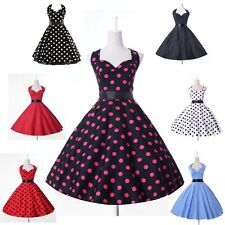 2013 HOT HALTER POLKA DOT 50's PINUP ROCKABILLY VINTAGE SWING PROM PARTY DRESS