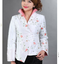 4 colors Chinese Women's silk embroidery jacket /coat Sz: 8 10 12 14 16