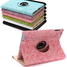 360° Rotating Leather Case Smart Cover Stand w/ Embossed Flowers For iPad 2 2nd