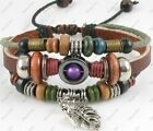 Hemp Jewelry Surfer Tribal Leather Bracelet Wristband Mens Women's Leaf #01