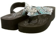 Womens Western Concho Snake Patterned Leather Bling Flip Flops with Rhinestones