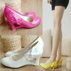 Womens Heart Wedges Synthetic Leather Round Toe Pumps Wedding Shoes UK Size D022