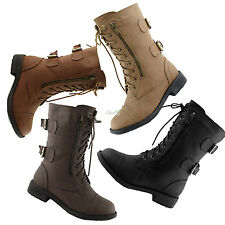Women Mid Lace Up Boot Ankle High Flat Heel Cowboy Combat Fashion Military Boots