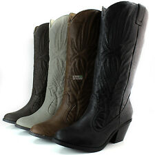Womens Western Cowboy Boots Mid Calf Casual Slouch Embroidered Chunky Heel Shoes