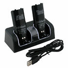 Black Dual Twin Charger Dock For Nintendo Wii Remote Controller 2X Battery Pack