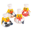 SET OF FOUR CHEF COOK RUBBER DUCK DUCKIES NOVELTY TOY BATH TOY COLLECTABLE