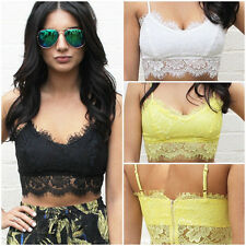 Sexy Women Lace Padded Bra Crop Tops Blouse Vest Cut Out Tee Shirt Summer Beach