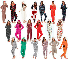 Womens Fleece 3D Costume Onesie Ladies All In One Jumpsuit PJ'S - Animal