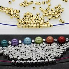 100/500Pcs Loose Cube Tibetan Silver Spacer Beads Jewelry For Findings 3.5*3mm