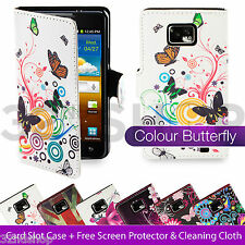 PU LEATHER FLIP WALLET CASE COVER FOR SAMSUNG GALAXY S2 i9100 + SCREEN PROTECTOR