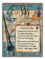 FISHERMAN PRAYER FISH FISHING TAPESTRY THROW AFGHAN BLANKET 54x70