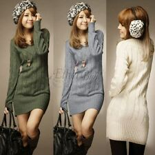 Womens Sexy V-neck Knitted Winter Long Sleeve Clothes Bodycon Evening Wrap Dress