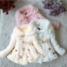 Girls Baby Coat Winter Warm Toddler 1-5Y Jacket Snowsuit Outwear Flower Kids New