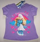 The Smurfs Smurfette Girls Purple Short Sleeve T Shirt Size 2 New