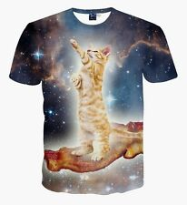 3D Galaxy Cat standing on bacon touching universe space T-shirt tee funny Tops