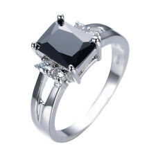 Jewelry Fashion Rings Size 6/7/8/9 Black CZ Women's White Gold Filled Engagement