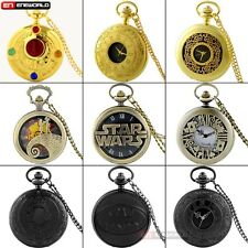 Black/Bronze/Silver Roma Number Antique Pocket Watch Chain Necklace Gift Quarzt