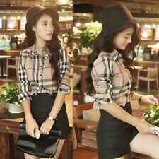 Women Casual Long Sleeve Plaid Checked Lapel Button Down Tops Blouse Shirts