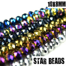 FACETED RONDELLE CRYSTAL GLASS BEADS PICK METALLIC COLOUR 10X8MM