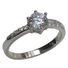 ATTRACTIVE ROUND CUT 1 CT CLEAR STONE 925 STERLING SILVER RING SIZES J-T