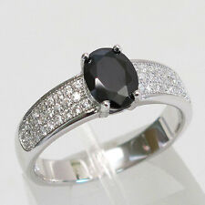 GLAMOROUS 1.5 CT OVAL CUT BLACK STONE 925 STERLING SILVER RING SIZE J-T