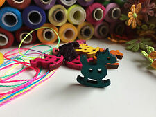 ✿Shabby Chic Wooden Rocking Horse Shaped Buttons - Mixed Colours (x 12)✿