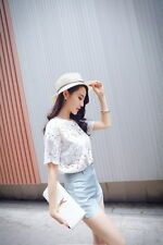 Summer Women Fashion Casual Short Sleeve Lace Shirt Tops + Hot Pants Shorts Suit