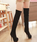 Womens Super High Heel Over Knee Thigh High Boot Suede Stretch Platform Plus A47