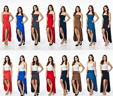 HAUTENVY SUPER SMOOTH LUXURY STRETCH WOMEN CONVERTIBLE STRAPLESS DRESS TO SKIRT