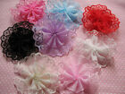 """32 Organza Ruffle Ribbon on Lace 2"""" Flower Pets Bow-8 Colors RF100"""