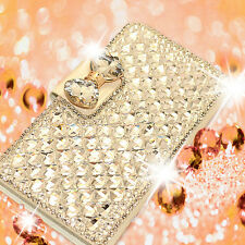 Luxury Bling Diamond Bow Leather Stand Case Cover For Various Mobile Phones