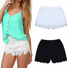 Damen Elastic High Waist Shorts Blumen Spitze Crochet Hotpants Mini Kurz Hose