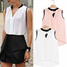 Fashion Women Summer Loose Sleeveless Casual Tank T-Shirt Blouse Top Vest V-neck