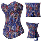 Sexy Blue Floral Steel Lace up Boned Corset Jean Basque Top Costume Party S-2XL