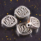 50PC Tibetan Tibet Silver Flat Striped Loose Spacer Charm Bead Jewelry Findings