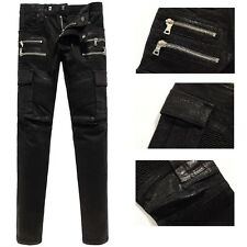 men catwalk freight waxed glossy coated stretch slim black biker washed jeans916