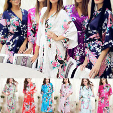 New High Quality Long women lady  Girls Bride Kimono Robe satin Night dress Gown