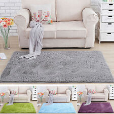 Nice Fluffy Rug Anti-Slip Shaggy Area Rug Dining Room Bedroom Carpet Floor Mat