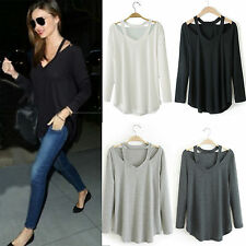 Women Cotton Long Sleeve V-Neck Loose T-Shirt Tee Top Casual Blouse 6 8 10 12 14