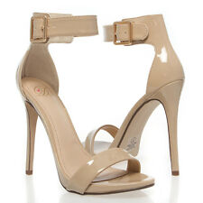 Women Beige Open Toe Buckle Ankle Strap Stiletto High Heel Sandal Pump Shoe 5-11