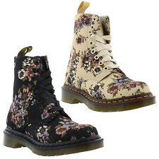 New Dr Martens 1460 Beckett Womens Beige Canvas Ankle Boots Ladies Size UK 4-8