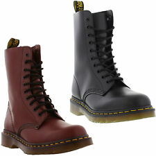New Dr Martens 1490 Mens Womens Black Red Leather Ankle Boots Size UK 4-13