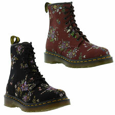 New Dr Martens 1460 Castel Womens Black Red Floral Ankle Boots Size UK 4-8