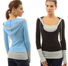SEXY WOMEN slim Long Sleeve Shirt Top Casual BLOUSE pullover sweater cap Hoody