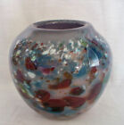 MURANO ART GLASS GRAY BLUE PURPLE MULTI COLOR LARGE BALL TYPE VASE