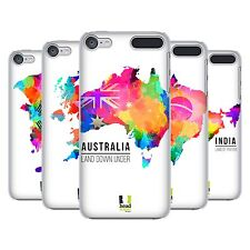 HEAD CASE DESIGNS MAPAS EN ACUARELA CASO DURO TRASERO PARA APPLE iPOD TOUCH MP3