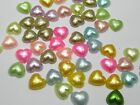 200 Mixed Color Heart Half Pearl Bead 10X10mm Flat Back Scrapbook Craft