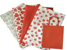 RED VALENTINES DAY / BIRTHDAY / CHRISTMAS GIFT BAG 2 SIZES / LOVE HEART TISSUE