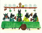8X10 PRINT OF PAINTING SCOTTISH TERRIER RYTA FOLK ST PATRICKS DAY MICE MOUSE PET