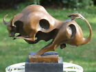 SUBSTANTIAL SIGNED ABSTRACT HOTCAST BRONZE BULL STATUE